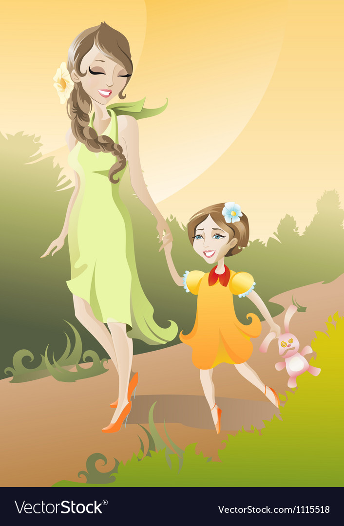 Mother and daughter vector | Price: 3 Credit (USD $3)