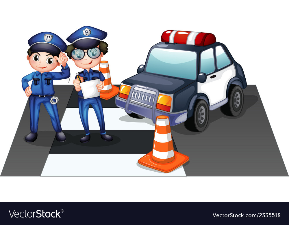 Police officers at the road vector | Price: 3 Credit (USD $3)
