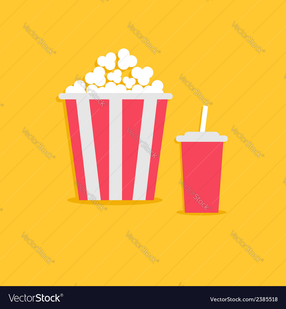 Popcorn and soda with straw cinema icon flat vector | Price: 1 Credit (USD $1)
