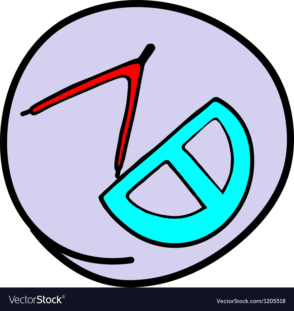 Protractor and drawing compass vector | Price: 1 Credit (USD $1)