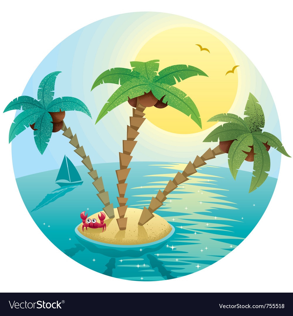 Small island landscape vector | Price: 1 Credit (USD $1)