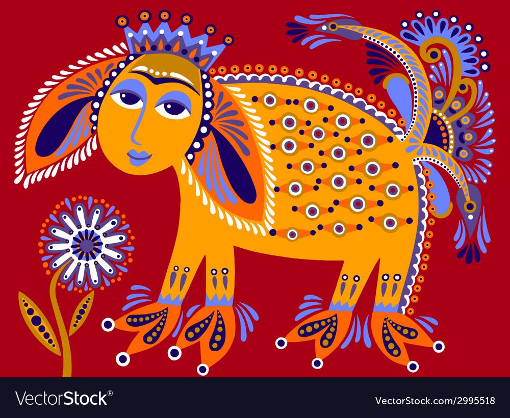 Ukrainian tribal ethnic painting unusual animal vector | Price: 1 Credit (USD $1)