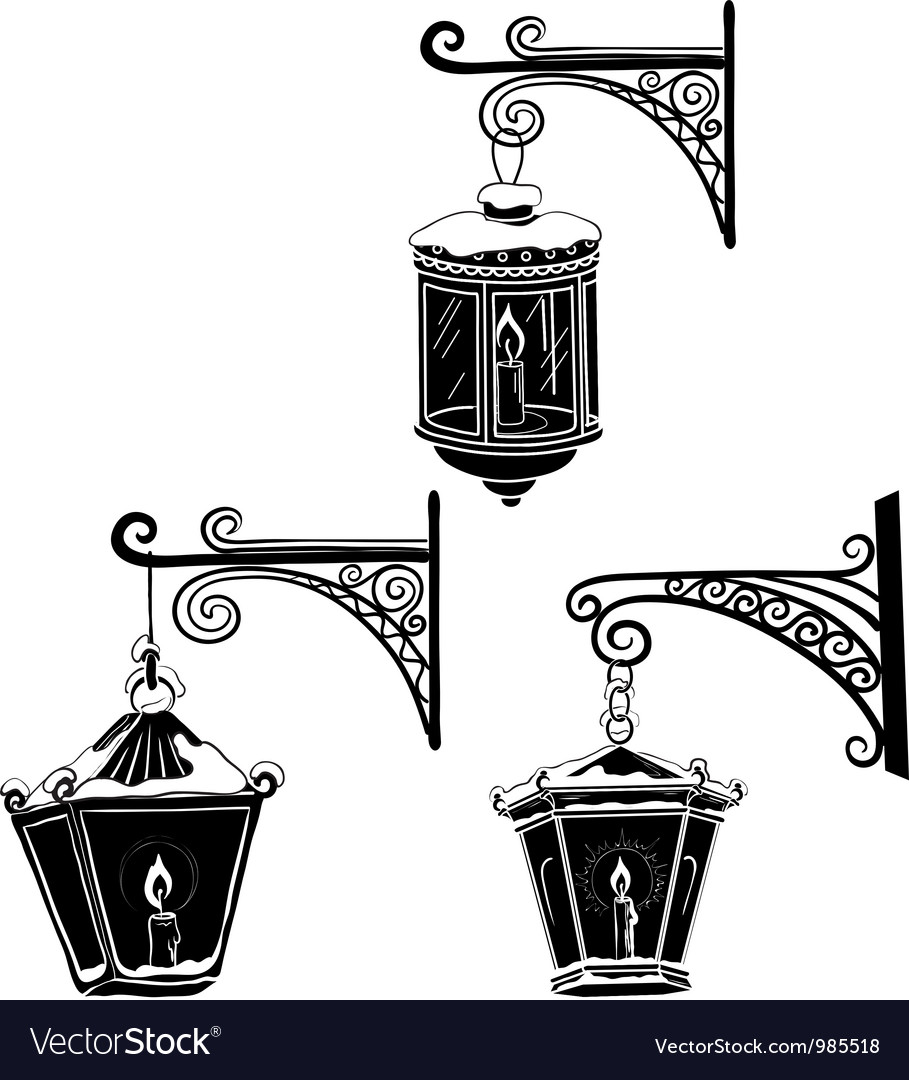 Vintage street lanterns contours vector | Price: 1 Credit (USD $1)
