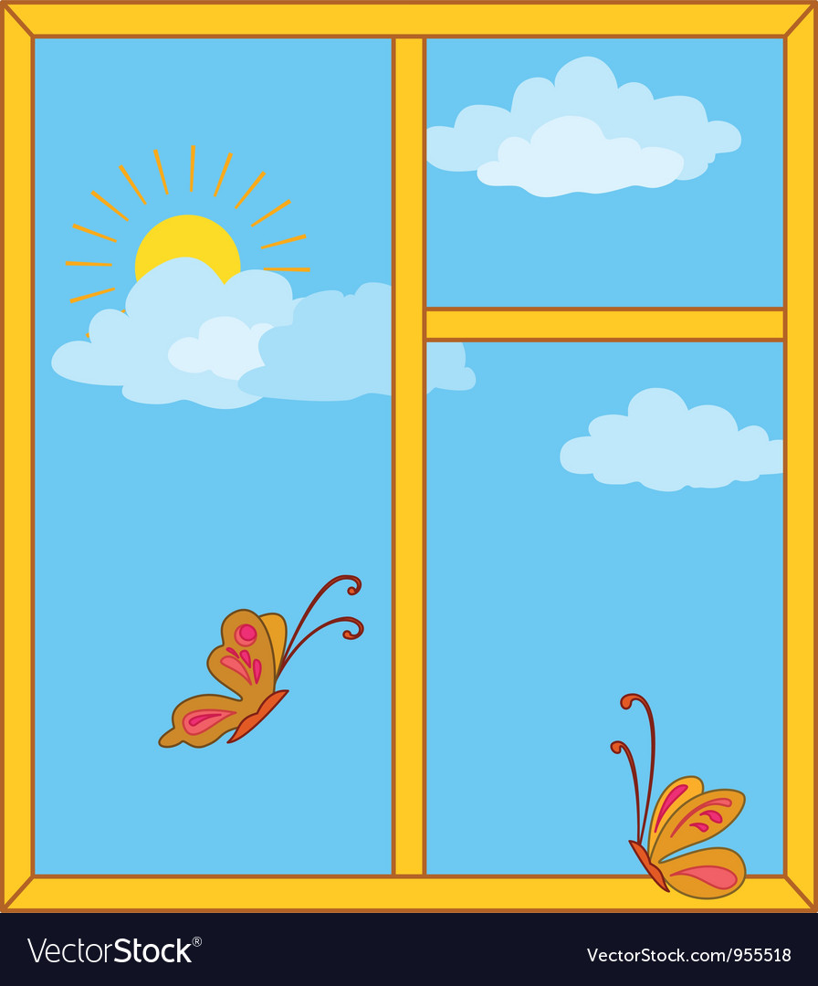 Window with sky sun and butterflies vector | Price: 1 Credit (USD $1)