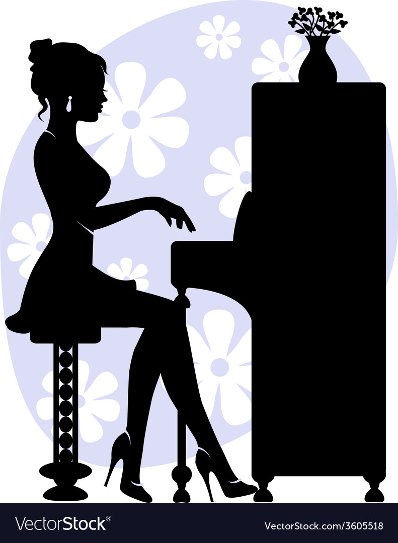 Woman playing piano vector | Price: 1 Credit (USD $1)