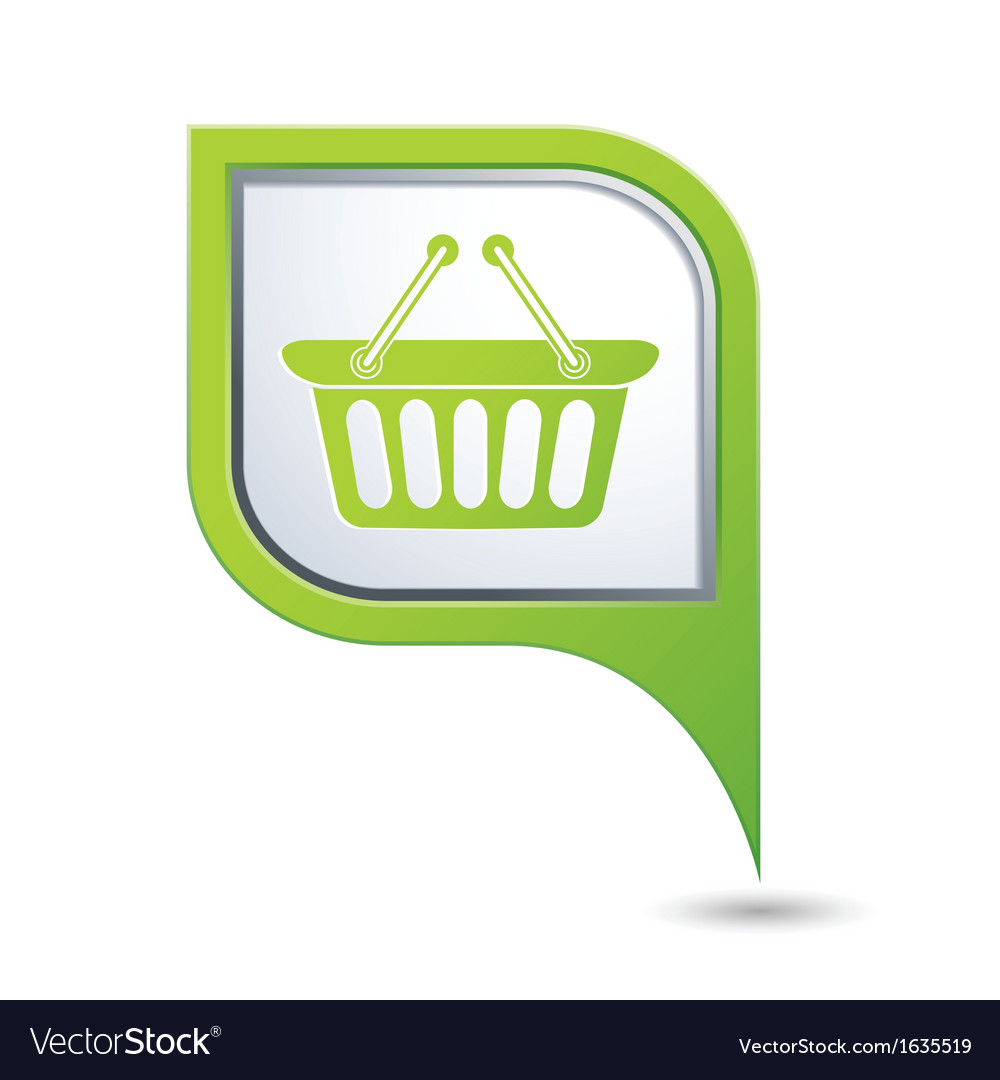 Basket icon green map pointer vector | Price: 1 Credit (USD $1)
