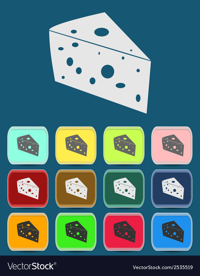 Cheese icon with color variations vector | Price: 1 Credit (USD $1)