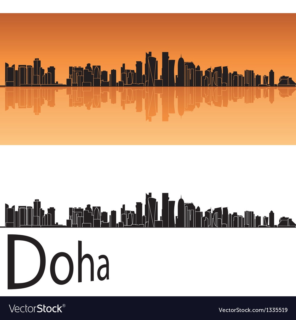 Doha skyline in orange background vector | Price: 1 Credit (USD $1)