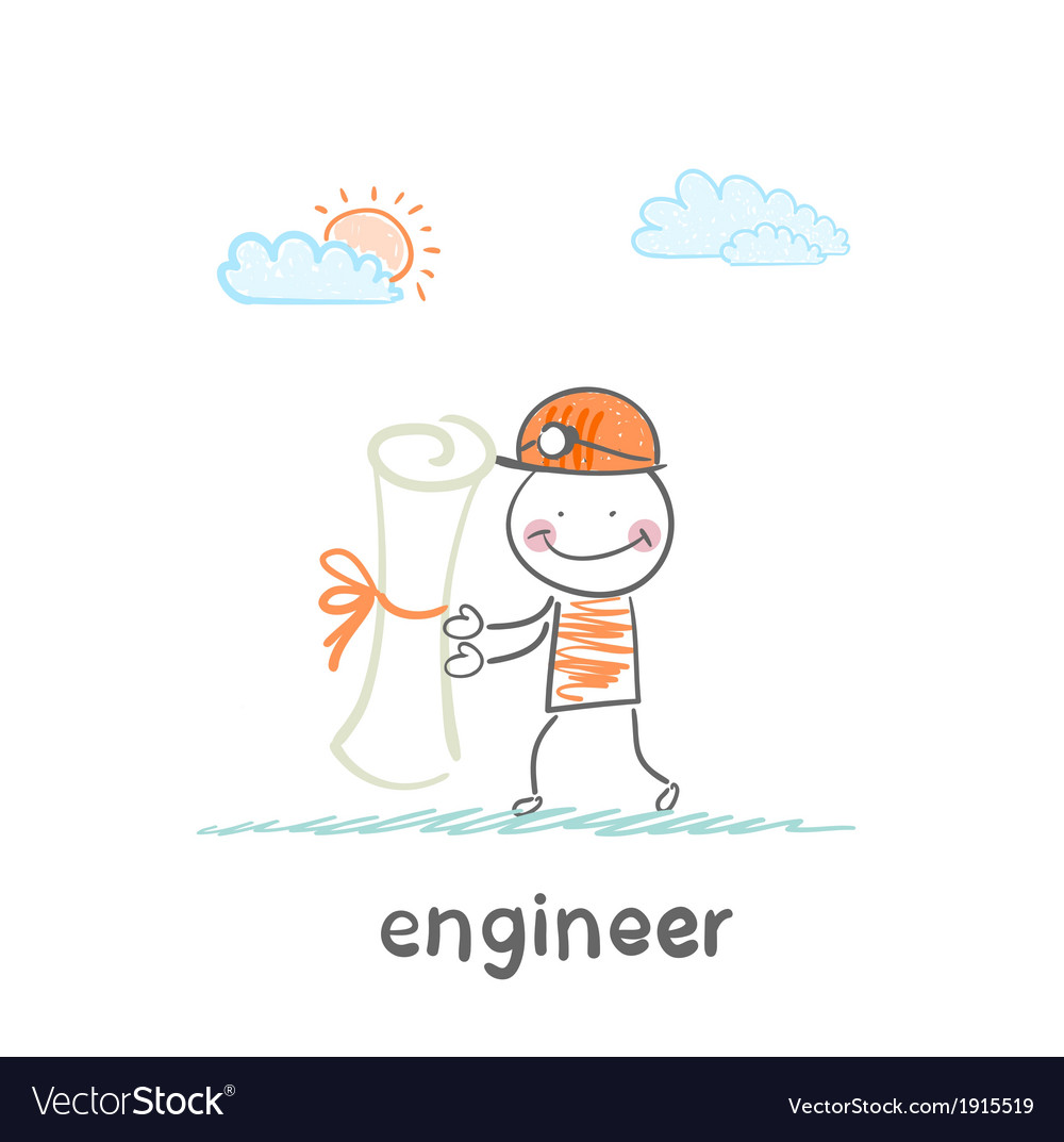 Engineer holding a paper vector | Price: 1 Credit (USD $1)