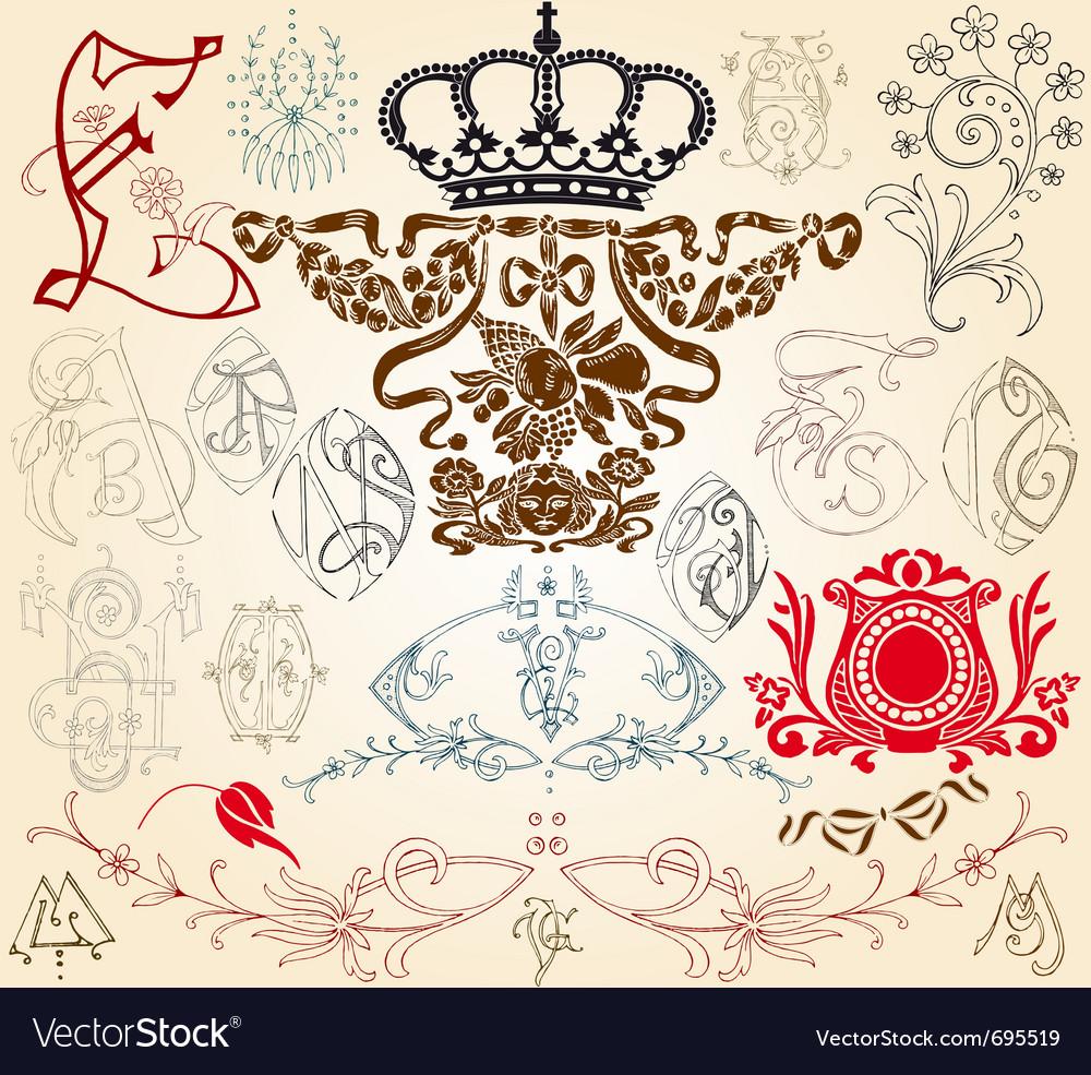 Heraldry elements vector | Price: 1 Credit (USD $1)