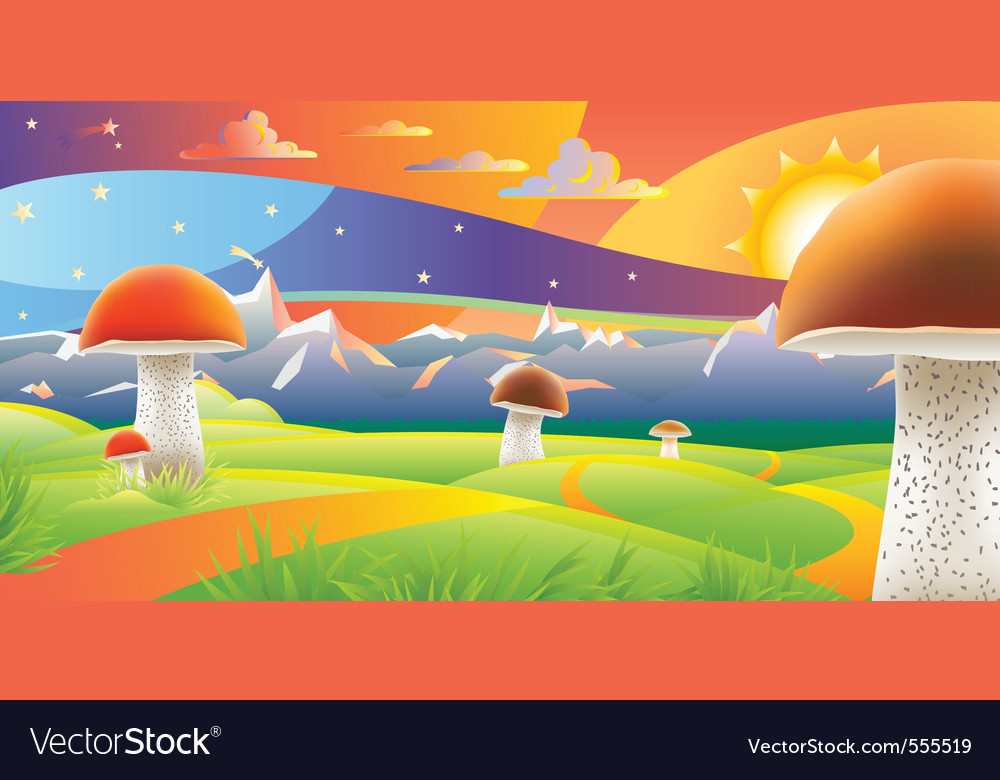 Mushroom sunset vector | Price: 1 Credit (USD $1)