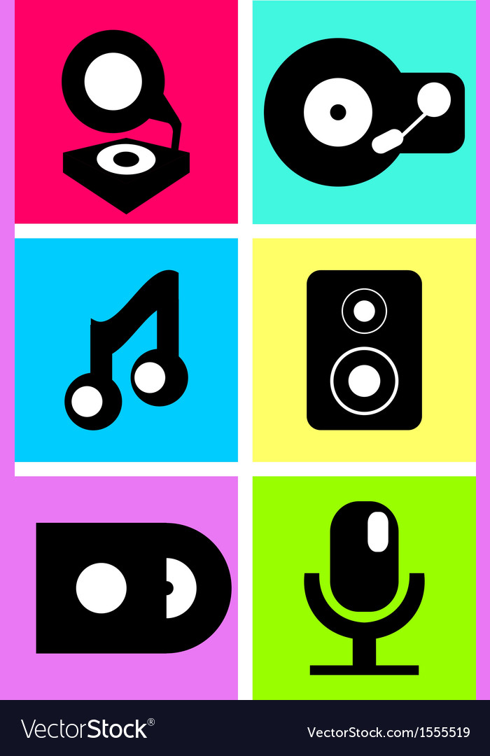 Neon colored music icons flat design vector | Price: 1 Credit (USD $1)