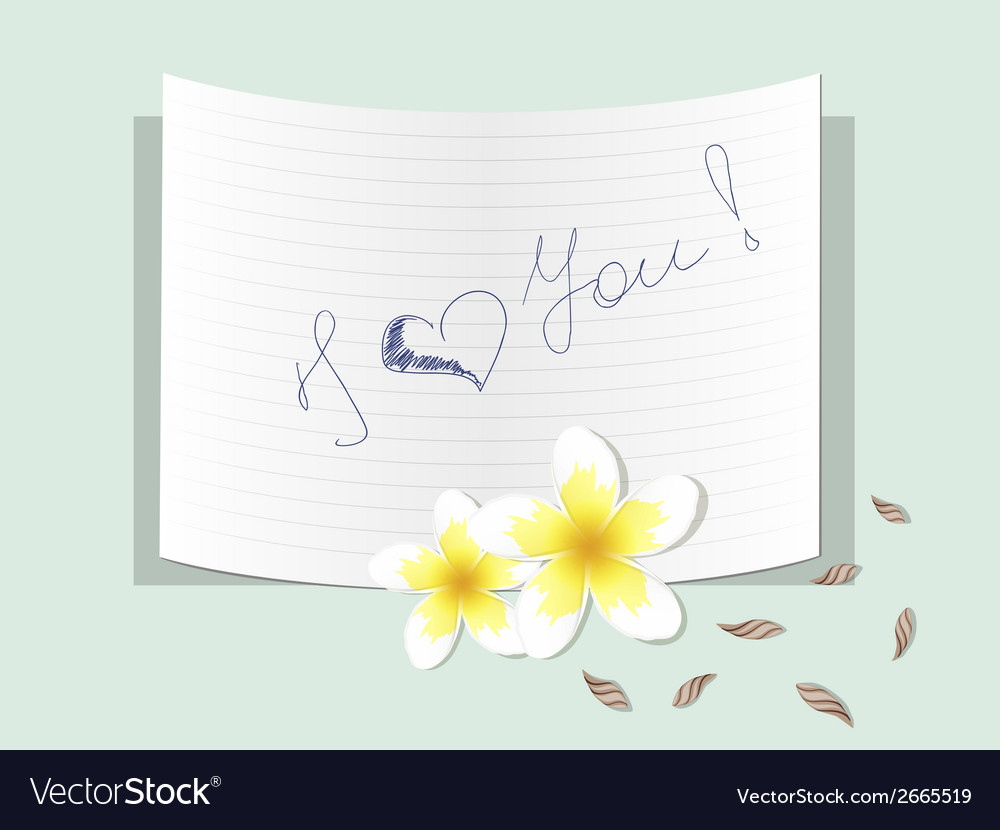 Plumeria with a note about love vector | Price: 1 Credit (USD $1)