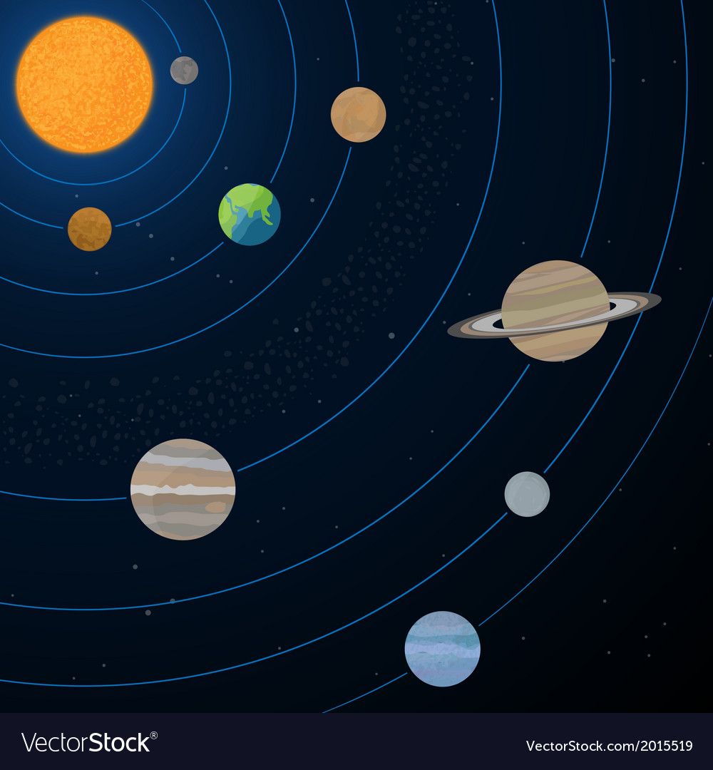 Realistic solar system vector | Price: 1 Credit (USD $1)