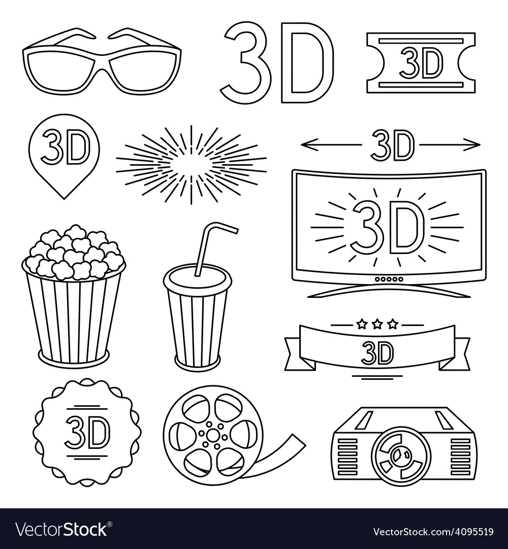 Set of movie design elements and cinema icons vector | Price: 1 Credit (USD $1)