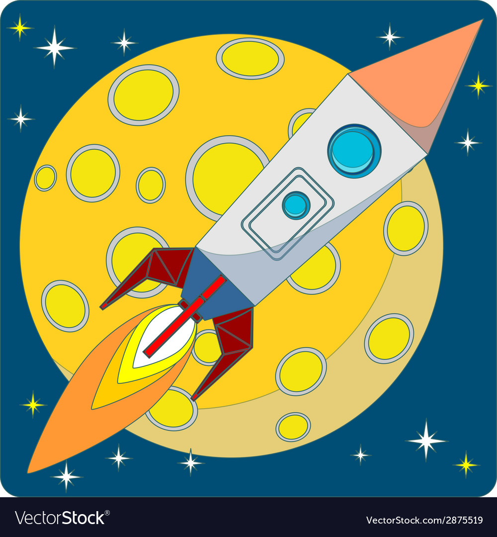 Space rocket on moon background vector | Price: 1 Credit (USD $1)