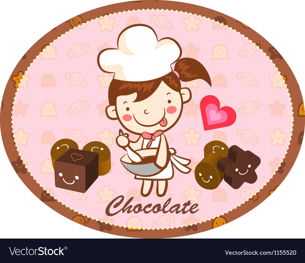 A girls chocolatier in making chocolate vector | Price: 1 Credit (USD $1)