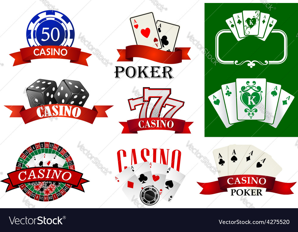 Casino and poker emblems or badges vector