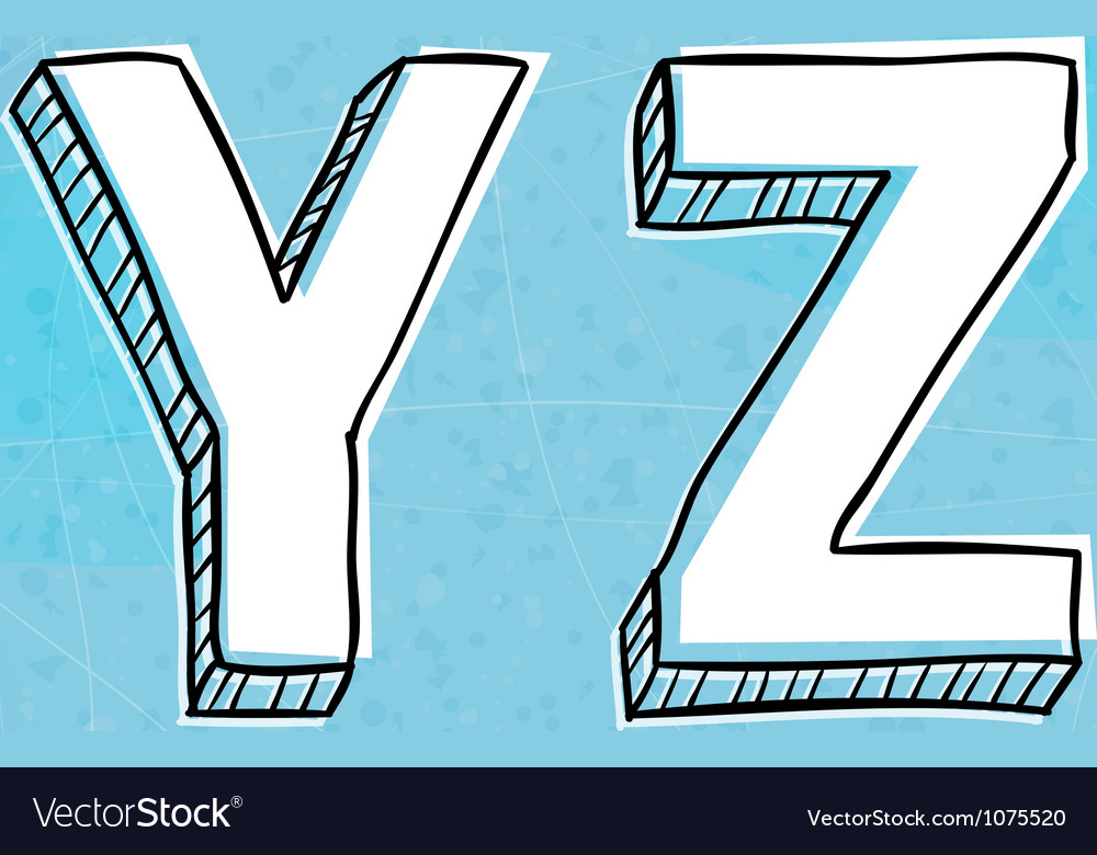 Doodle style hand drawn alphabet y-z vector | Price: 1 Credit (USD $1)