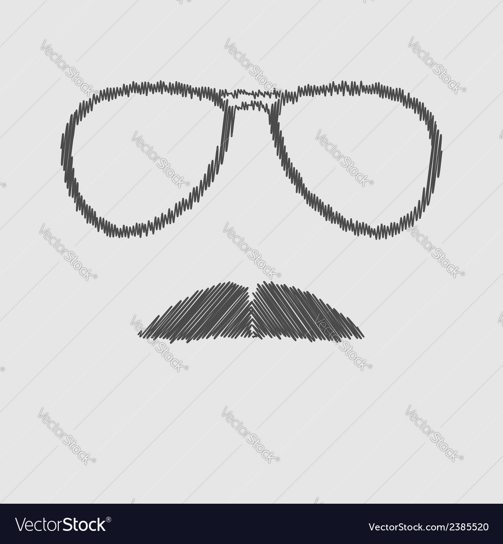 Mens glasses and mustache scribble effect vector | Price: 1 Credit (USD $1)