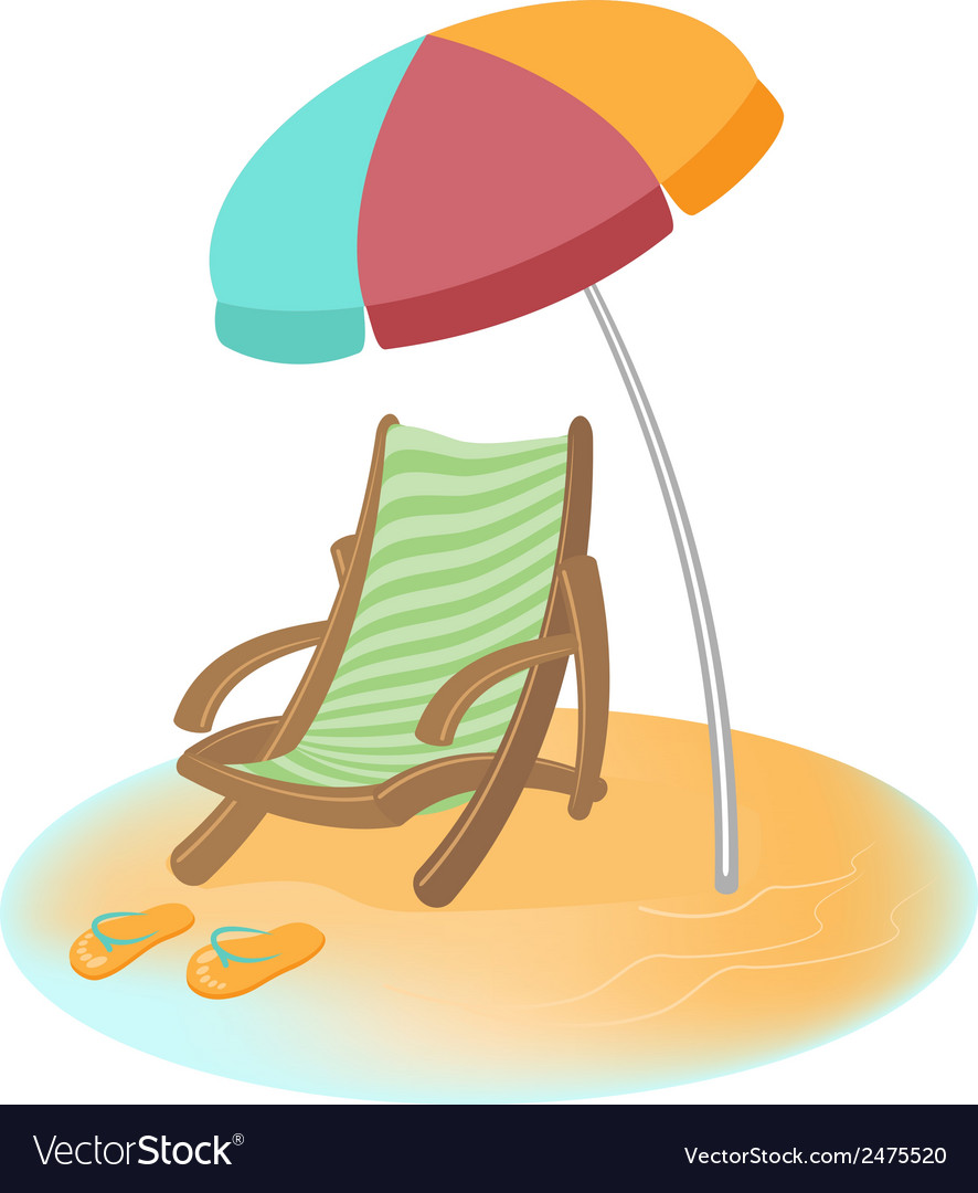 Parasol sunbed and flip-flops cartoon vector | Price: 1 Credit (USD $1)