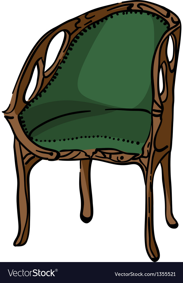 1900 style decorated armchair vector | Price: 1 Credit (USD $1)