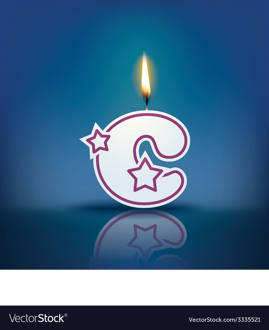 Candle letter c with flame vector | Price: 1 Credit (USD $1)
