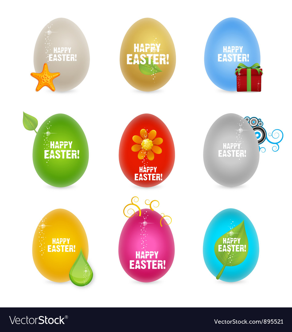 Colored clean and creative nature easter eggs vector | Price: 3 Credit (USD $3)