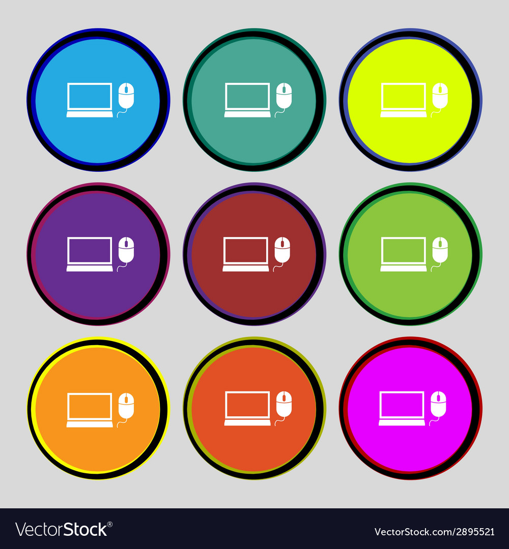Computer widescreen monitor mouse sign icon set vector | Price: 1 Credit (USD $1)