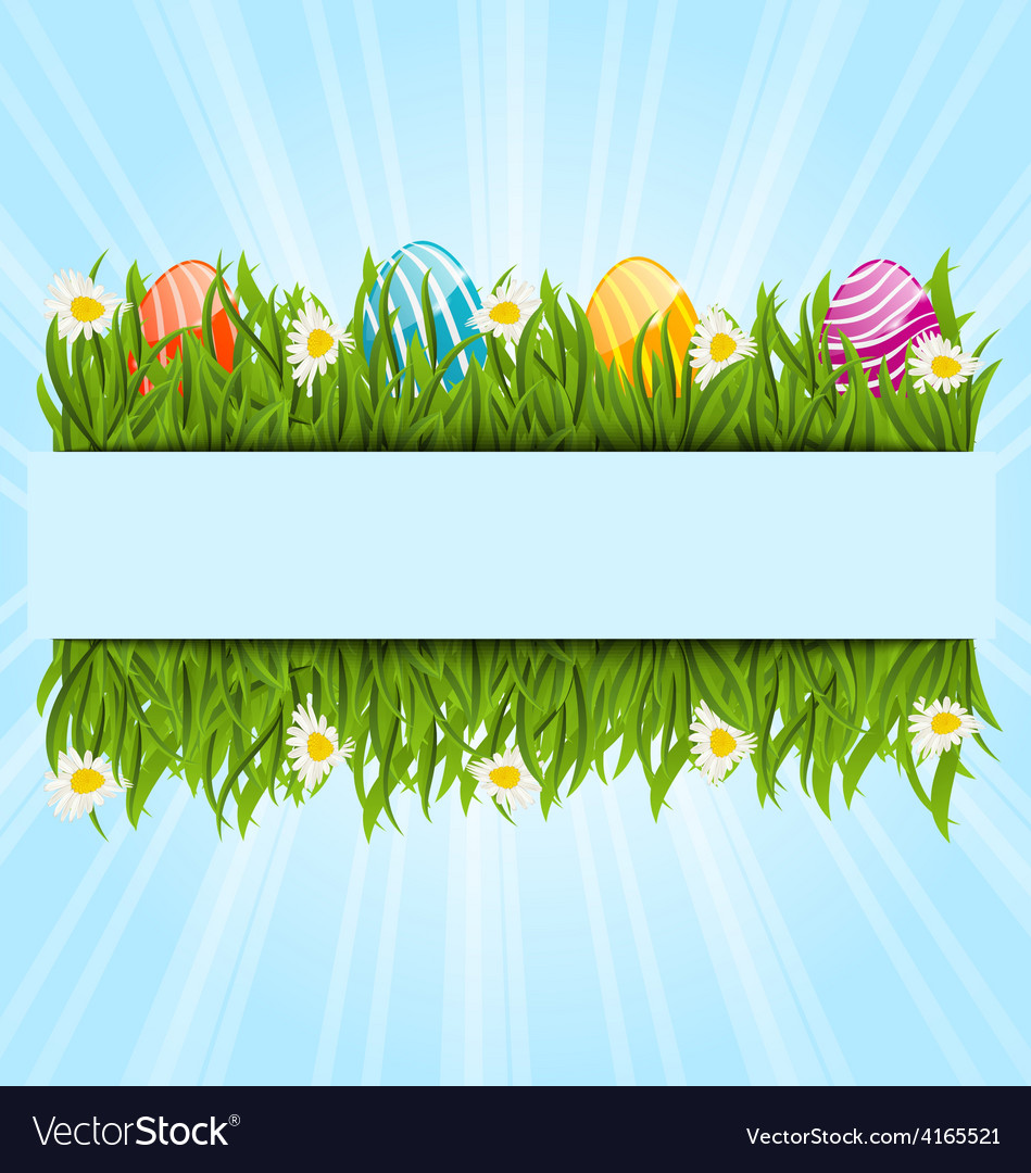 Easter colorful eggs and camomiles in green grass vector | Price: 1 Credit (USD $1)