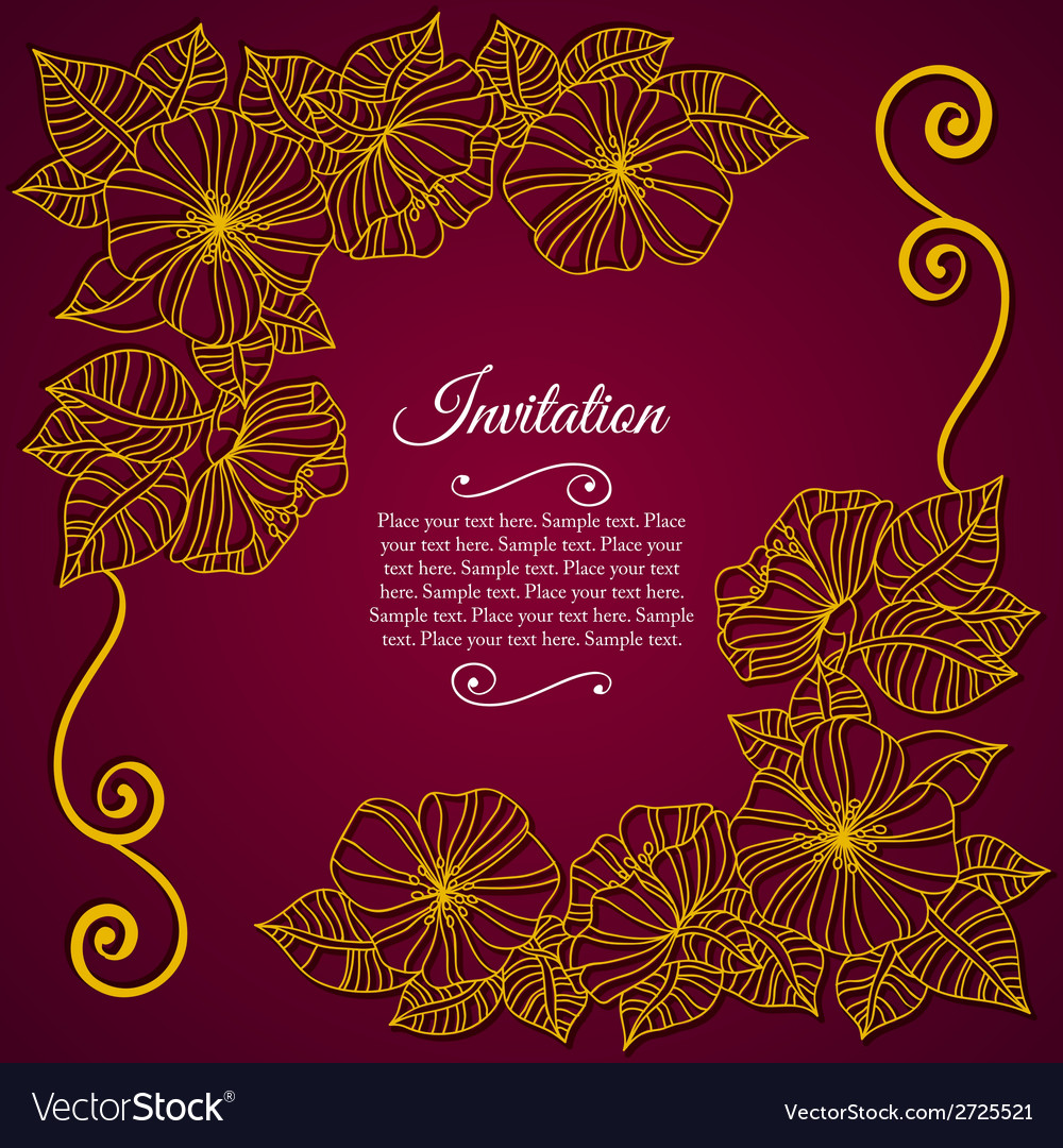 Elegant invitation card with floral lace quilling vector | Price: 1 Credit (USD $1)