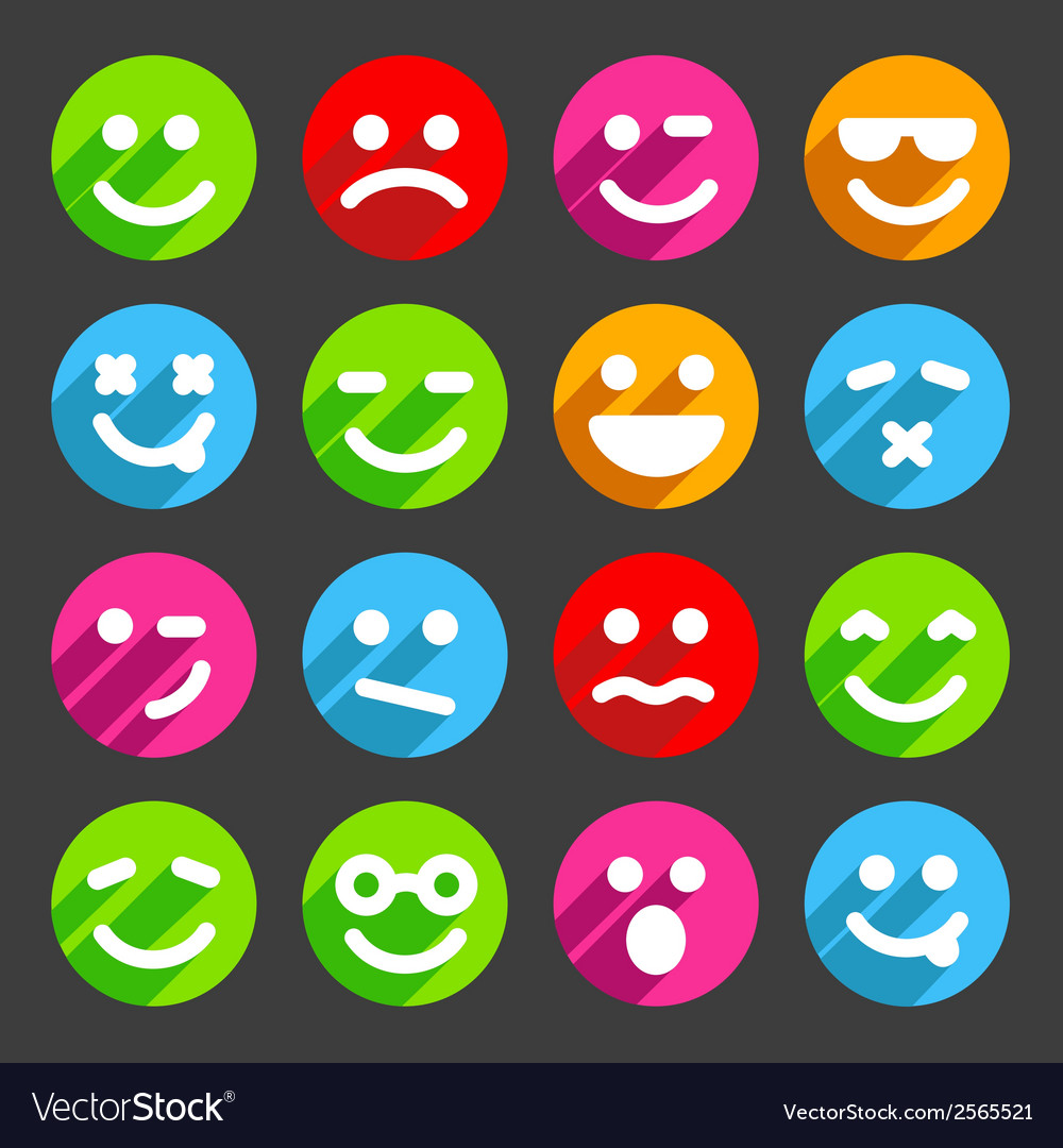 Flat and round smiley icons for your design vector | Price: 1 Credit (USD $1)