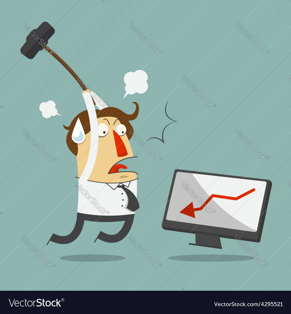 Furious frustrated businessman hitting computer vector | Price: 1 Credit (USD $1)