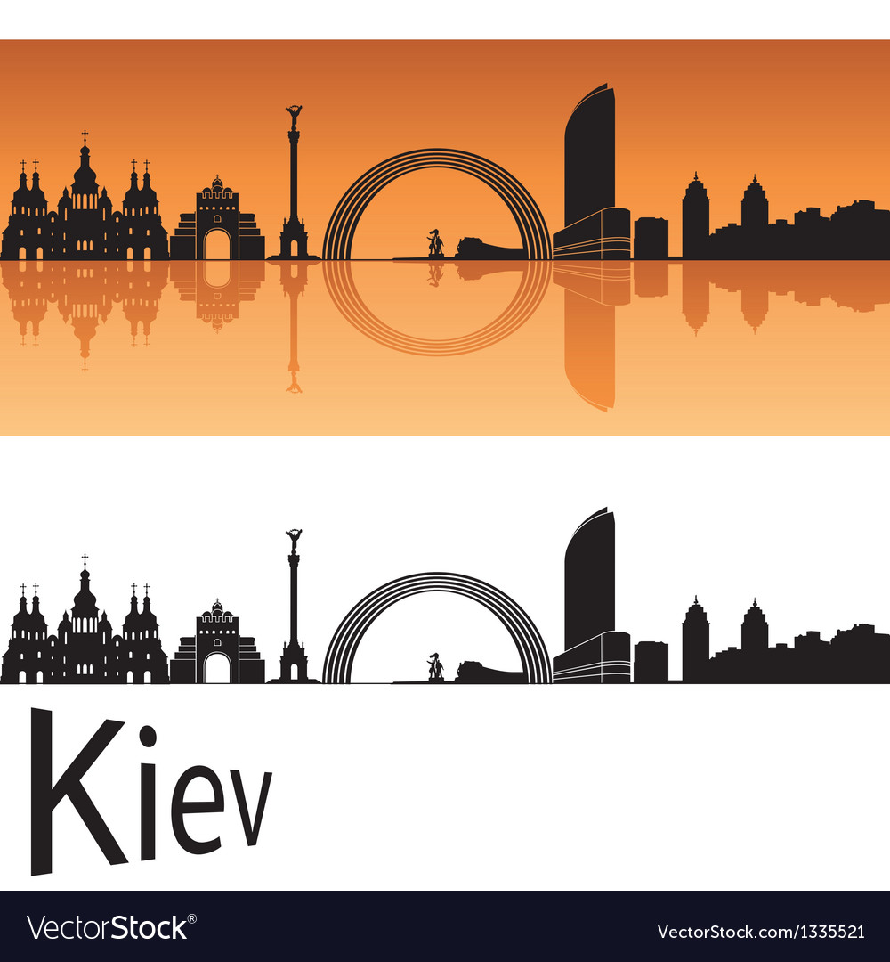 Kiev skyline in orange background vector   Price: 1 Credit (USD $1)