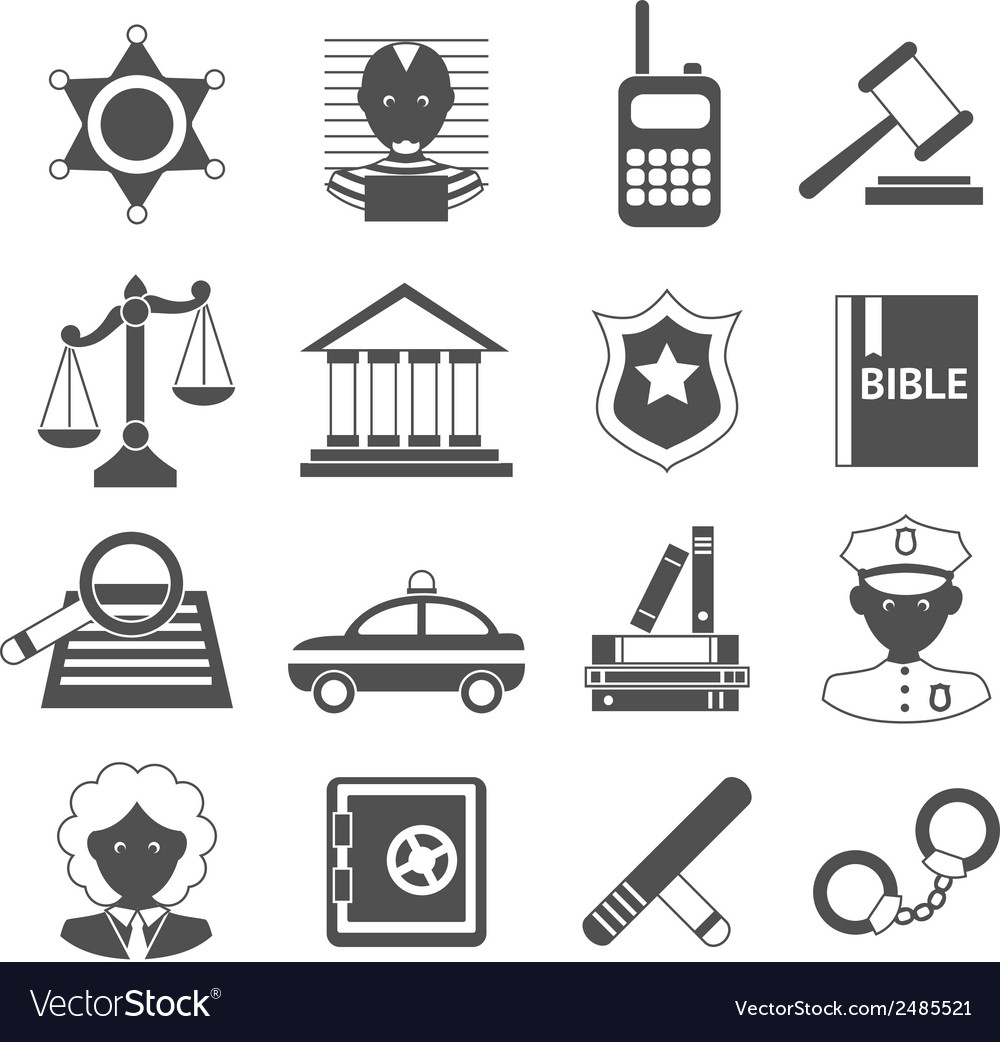 Law icons white and black vector | Price: 1 Credit (USD $1)