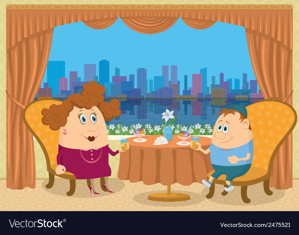 Mother and son in restaurant vector | Price: 1 Credit (USD $1)