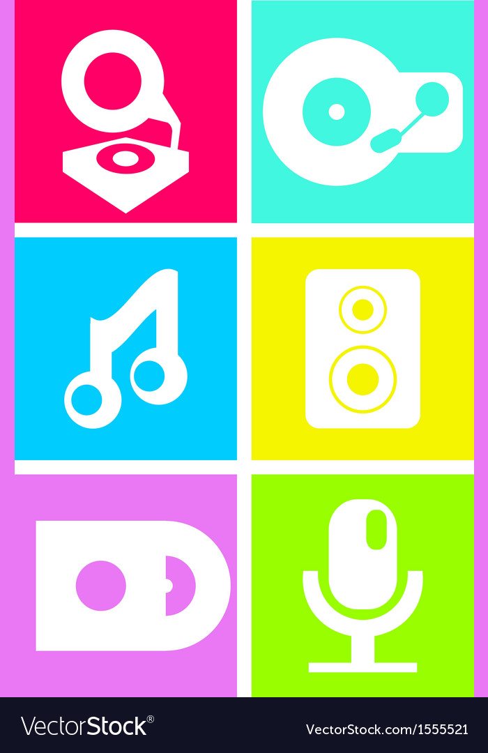Neon colored flat music icons vector | Price: 1 Credit (USD $1)