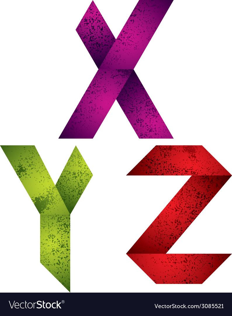 Origami alphabet letters x y z vector | Price: 1 Credit (USD $1)