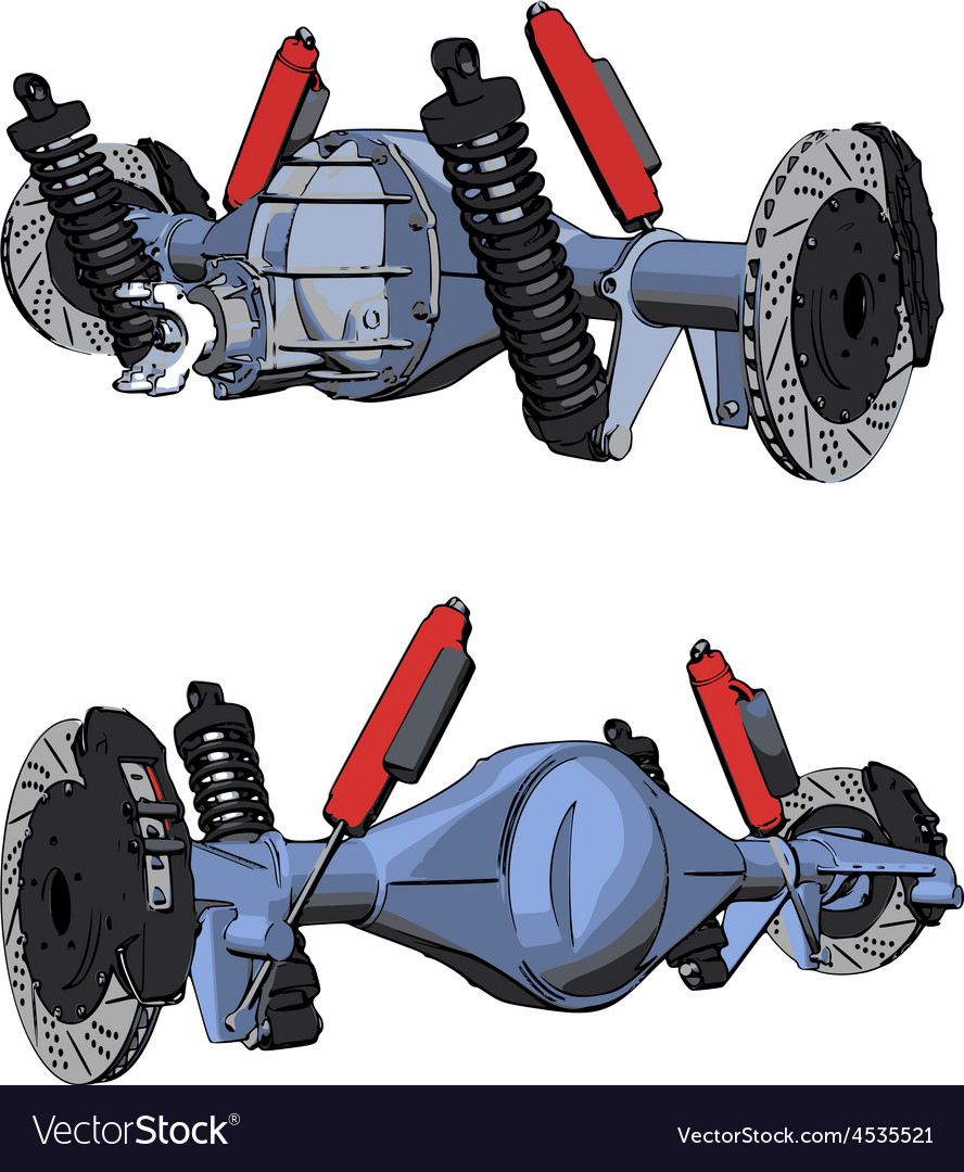 Rear axle assembly with suspension and brakes vector | Price: 1 Credit (USD $1)