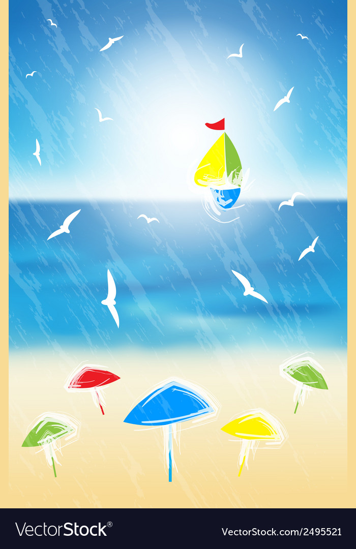 Sand beach and yacht in the open sea vector | Price: 1 Credit (USD $1)