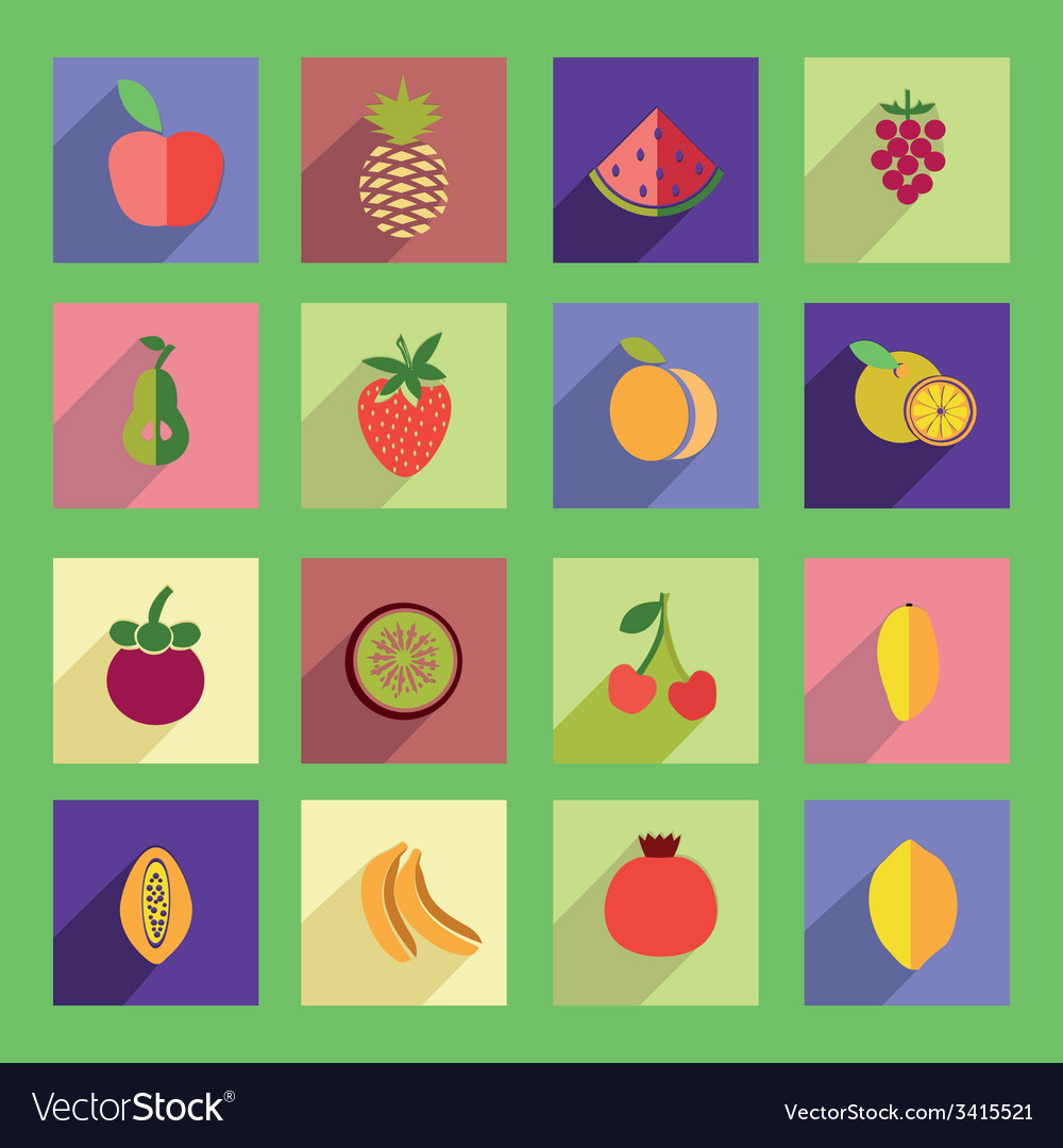 Set of fruits flat icon vector | Price: 1 Credit (USD $1)
