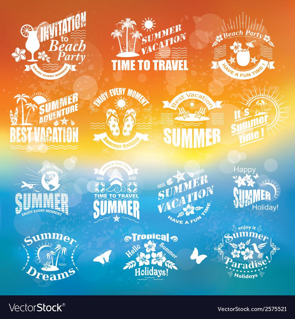 Set of summer design elements and frames vector