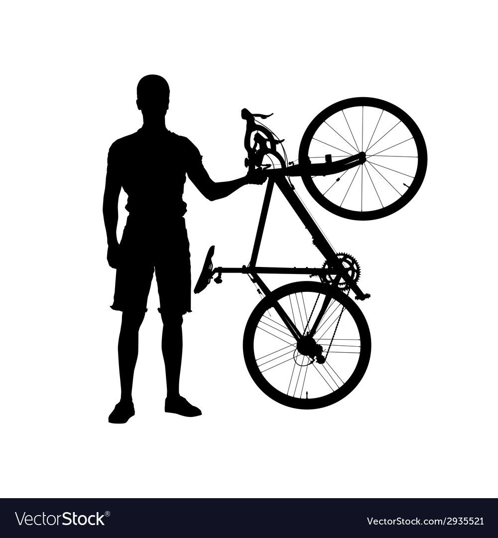 Silhouette of man with bicycle vector | Price: 1 Credit (USD $1)