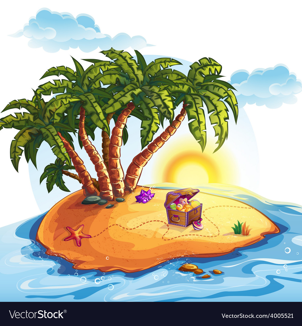 Treasure island with a trunk vector | Price: 5 Credit (USD $5)