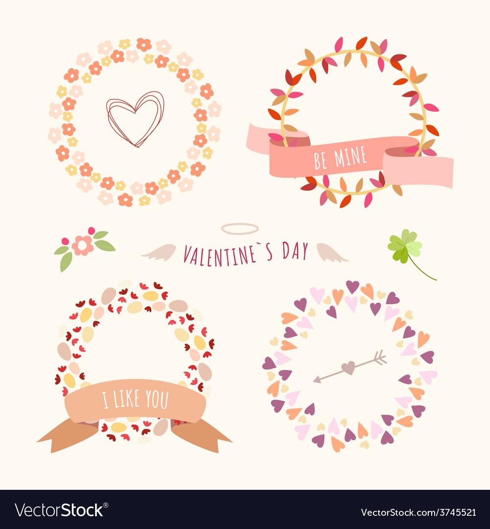 Valentines day hand drawn set vintage style design vector | Price: 1 Credit (USD $1)