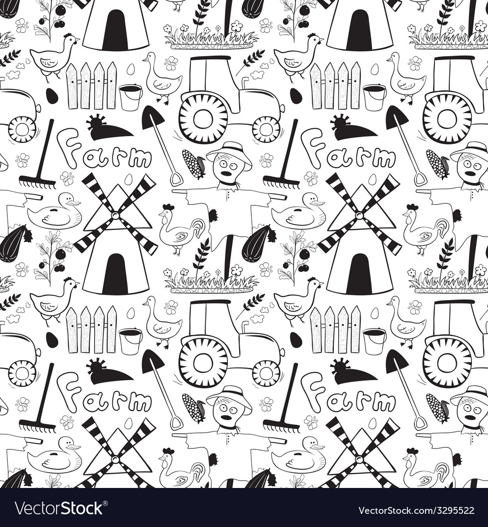 Black and whete seamless pattern farm elements in vector | Price: 1 Credit (USD $1)