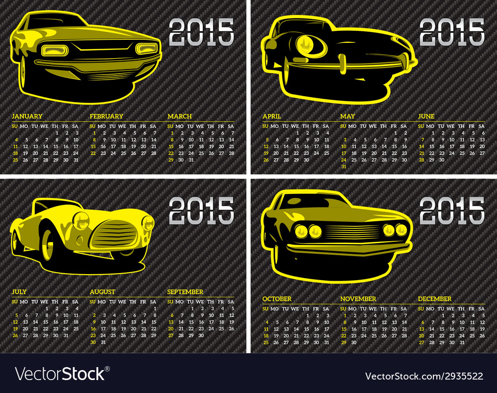 Calendar template with cars on carbon background vector | Price: 1 Credit (USD $1)