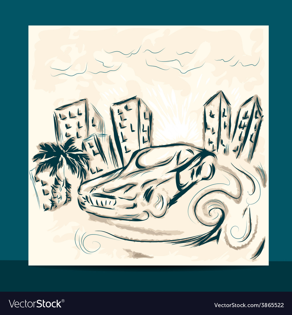Car on road vector | Price: 1 Credit (USD $1)