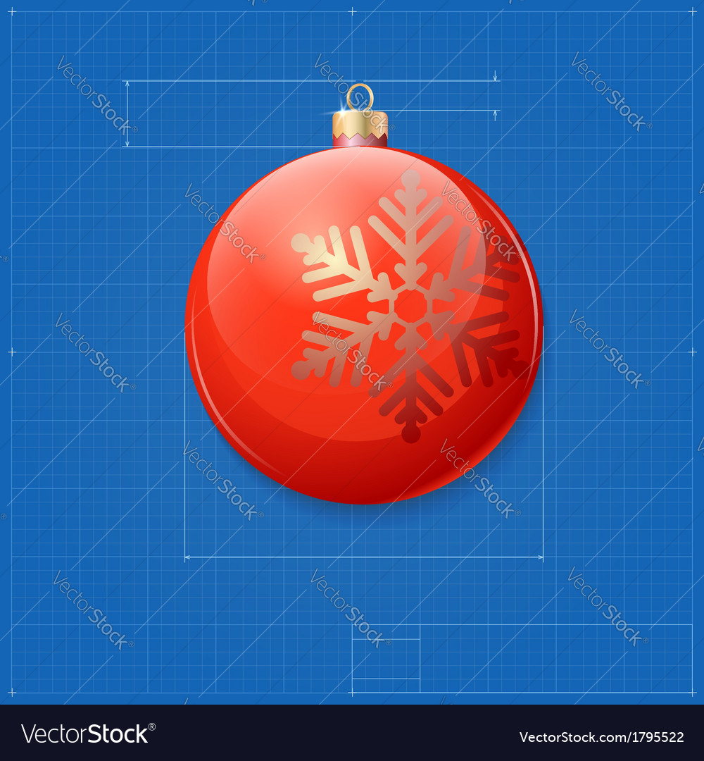 Christmas ball symbol like blueprint drawing vector | Price: 1 Credit (USD $1)