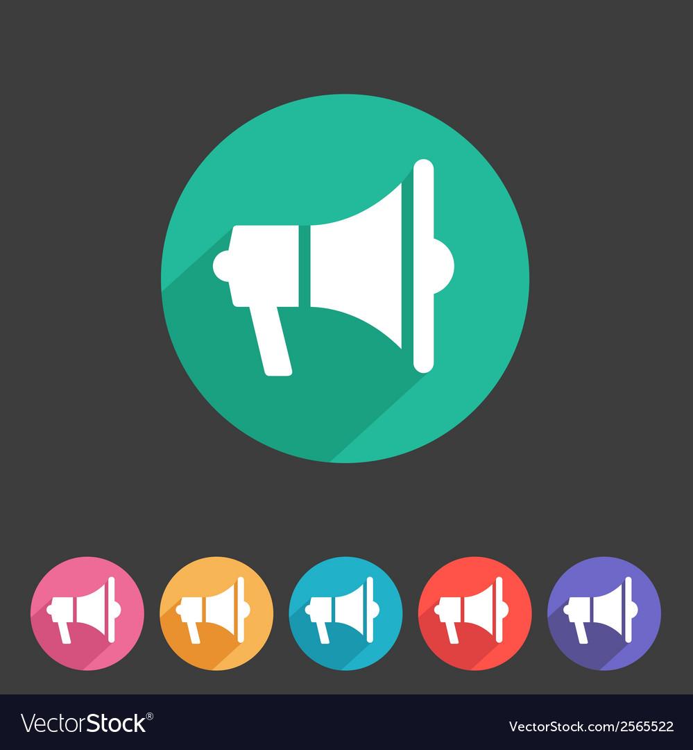 Flat loudspeaker megaphone icon vector | Price: 1 Credit (USD $1)